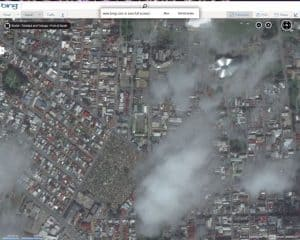 screenshot of a satellite image of Port of Spain Trinidad using Microsoft Bing Maps on May 3 2013