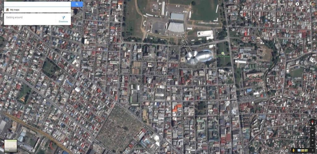 Satellite imagery of Port of Spain, Trinidad in Google Maps, May 2015