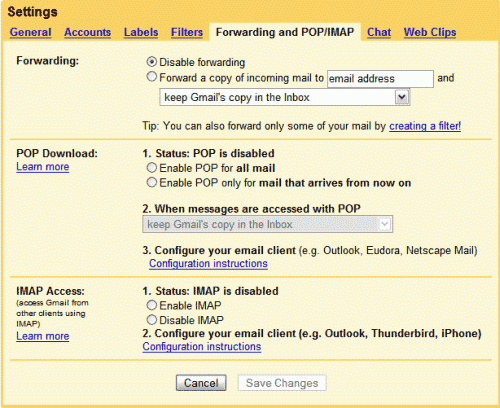 Gmail setting page showing support for POP3 and IMAP